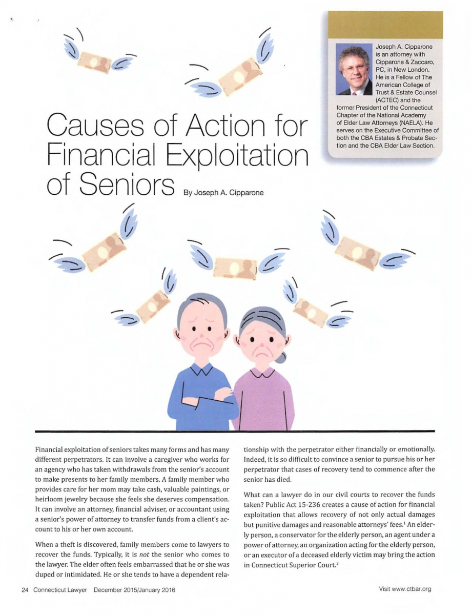 Causes of Action for Financial Exploitation of Seniors